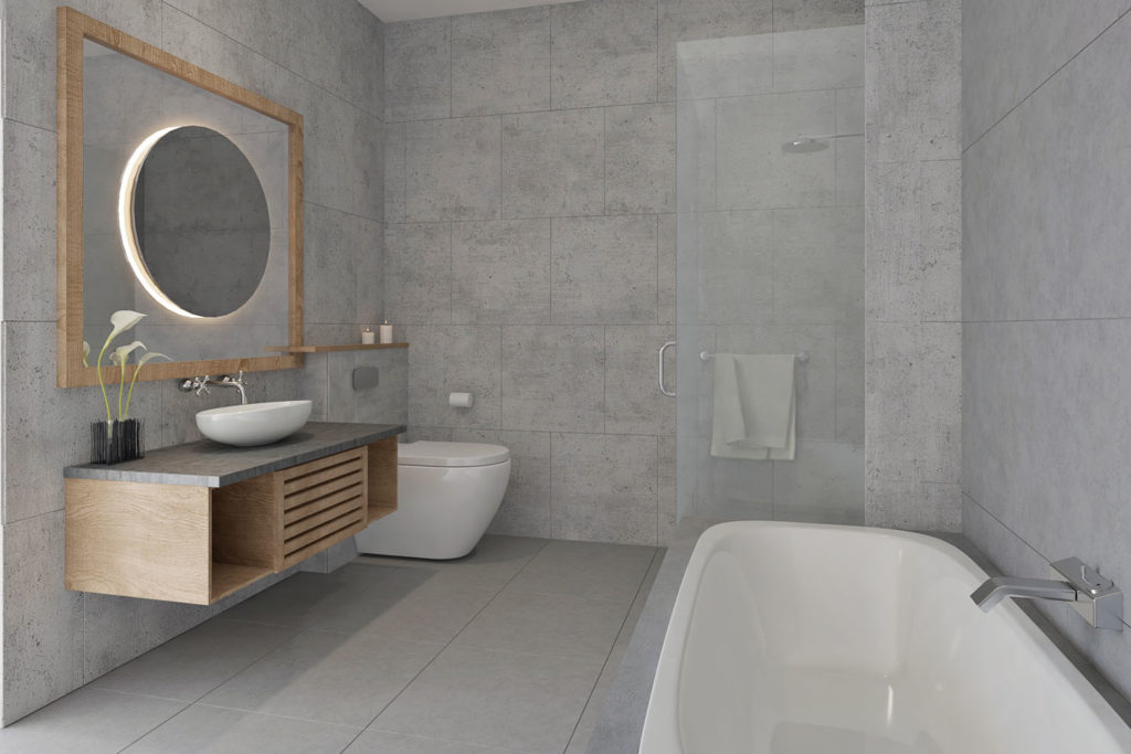 Teyo Diseños: baño minimalista gris
